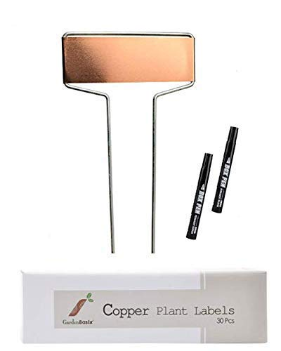 30 Copper Garden Plant Tags Planting Labels Reusable Gardening Markers with 2 Marker Pens for Patio Vegetable Herbs Flowers Nursery Seeding 10.8