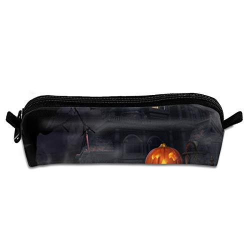GGlooking Portable Pencil Pouch Pumpkin House Halloween Simple Zipper Bag,Pen Case Office School Supplies Organizer Stationery Holders]()