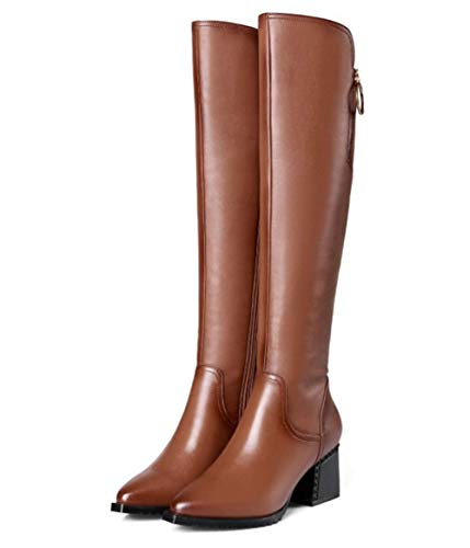 Shiney Stivaletti Donna Martin Genuine Chunky Brown High New Leather 2018 Warm Da Winter Stivali Heel Boots rrdEqS