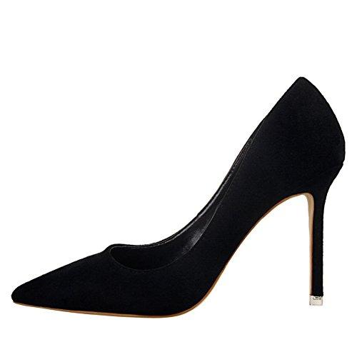 HautsEscarpin Élégant Talons Pointu Chaussures Aiguille Fermés Noir Pumps Escarpins Femmes Bout nwOk0P