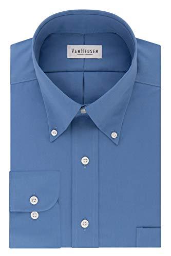 Van Heusen Men's Dress Shirt Regular Fit Non Iron Solid, Danish Blue, X-Large