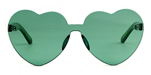 f455ac40bf Heart Shape Rimless Sunglasses One Piece Transparent Candy Color Eyewear  (Green