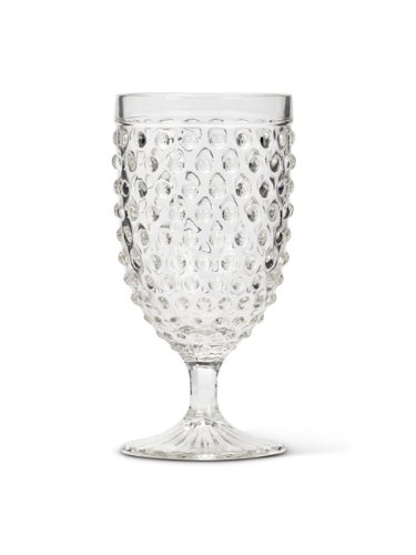 Set 6 pcs Vintage-Style 7'' Clear Glass Hobnail Wine Water Goblets Glasses (14oz )