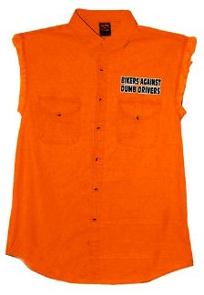 - Hot Leathers Bikers Against Dumb Drivers Sleeveless Denium Shirt (Safety Orange, Medium)
