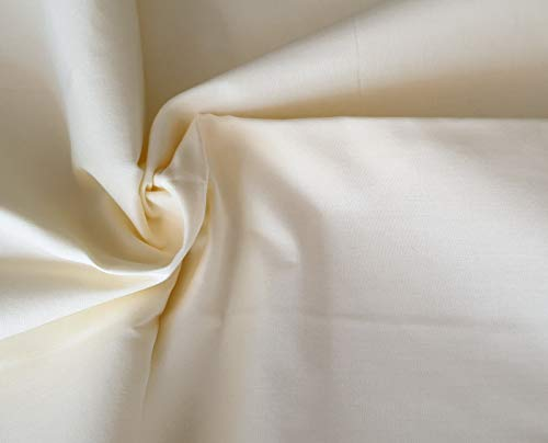 Ladyline Plain Lawn Cotton 2 Yards Cut Fabric Cream Solid Color Dyed Material from India