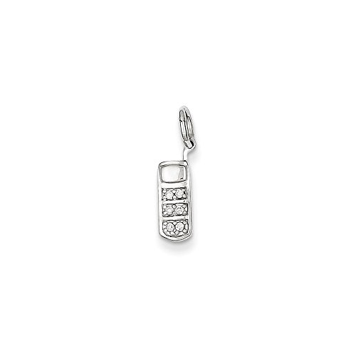 14k White Gold Diamond Cell Phone Charm, 14 kt White (Charm Diamond Jewelers)