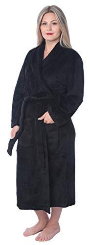 Women's Plus Size Plush Soft Warm Fleece Long Bathrobe Robe PR01 Black 2X