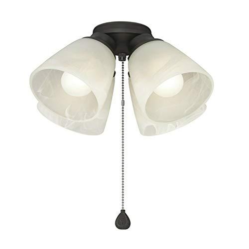 (4-Light Matte Black Ceiling Fan Light Kit with Alabaster Glass Shades)