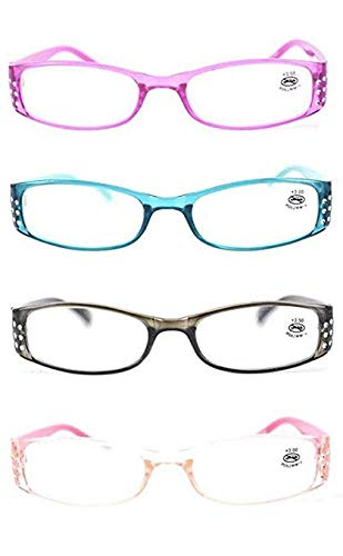 (AMILLET 4 Pack Rectangular Rhinestone Reading Glasses Sturdy Readers for Women Ladies +2.0)