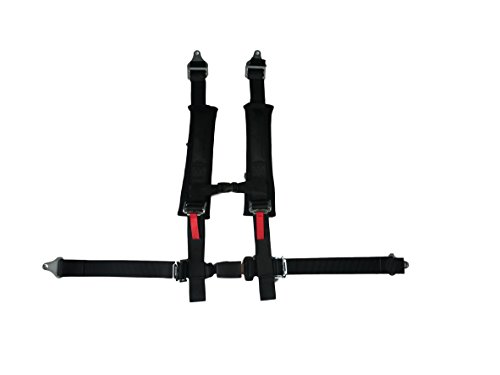 4 Point Harness with 2 Inch Padding (Ez Buckle Technology) (Black) (4 Point Seat Belt)