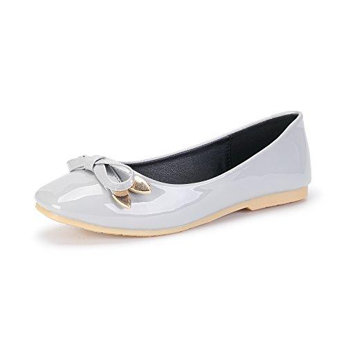 con Zapatillas Ballet Deporte Mujer Cuadrada Zapatillas Comfort Bowknot Punta de OCHENTA Gris de de EN gHPtxqZZ