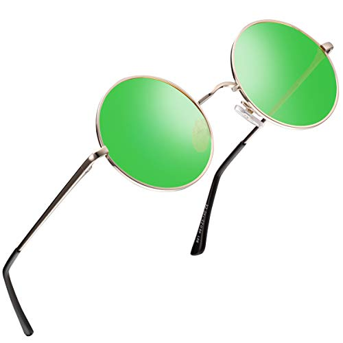 FEIDU Retro Polarized Round Sunglasses for Men Vintage Sunglasses Women FD3013 (green, 1.81)