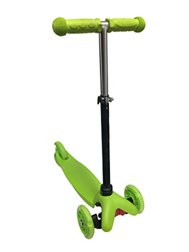 Kool KiDz Kick Scooter, LED Light Up Wheels, Alloy Folding Scooter, Super-Tough Aluminum Stunt Kiddie Kick Scooter with Adjustable Handle T-Bar (Green)