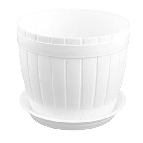 Amazon.com: DealMux plástico Escritório Cask Shaped Desk Decor planta da flor grama Plantio Titular Pot Branco: Home & Kitchen