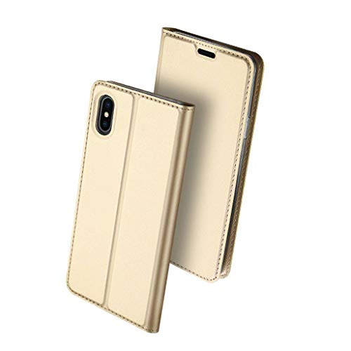 JHLD Compatible with iPhone Xs MAX Case Apple Case iPhone XR Flip Case-Local Gold-XS