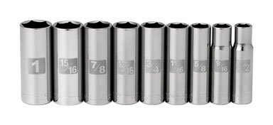 Craftsman 9 pc SAE Standard 6 pt. Deep 1/2 in. drive Easy to Read Socket Accessory (Easy Wrench)