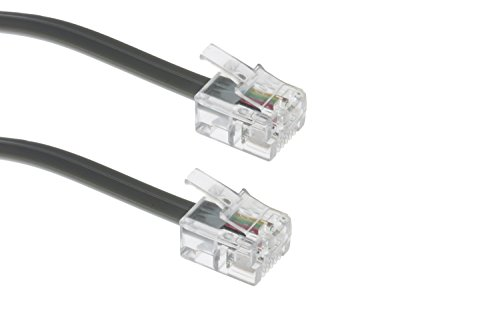 RJ11 Modular Telephone Cable Reversed For Voice, Silver, 25ft, Voice Modular Cable
