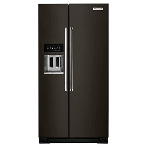 ('KitchenAid Black Stainless Steel Counter-Depth Side-By-Side Refrigerator' (Renewed))