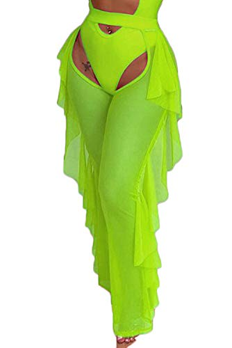wsevypo Women Sexy See Through Sheer Mesh Ruffle Pants Perspective Swimsuit Bikini Bottom Cover up Party Clubwear Pants -