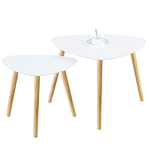 Homury Wood Nesting Coffee End Tables Set of 2 Modern Round Side Table Sofa Snack Table Nightstand for Living Room Home and Office,White (Triangular) For Sale