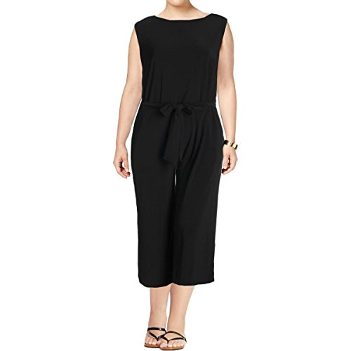 Lauren Ralph Lauren Womens Plus Karrey Sleeveless Cropped Jumpsuit Black (Ralph Lauren Pant Suit)