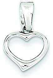 Sterling Silver Rhodium Plated Cz Open Heart Pendant