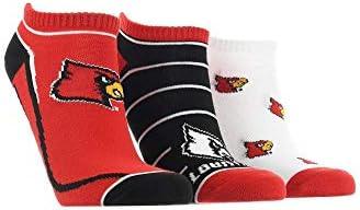 TCK Louisville Cardinals No Show Socks Full Field 3 Pack