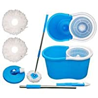 SHIVONIC Easy Magic Floor Mop 360° Bucket 2 Heads Microfiber Spin Spinning Rotating Head (Color May Vary)