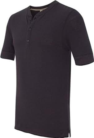 Alternative AA2055 Mens Short-Sleeve Henley T-shirt - Black - 2XL