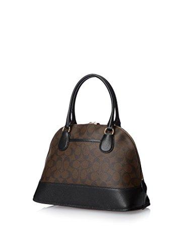 0864c85cc2 ... australia amazon coach signature cora domed satchel in brown black  shoes ea5e6 fd99e