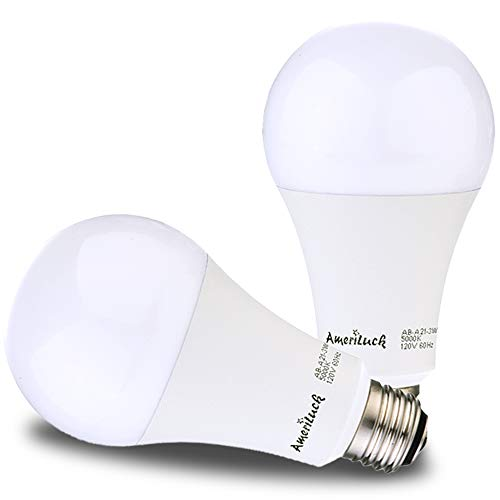AmeriLuck 50-100-150W Equivalent LED 3-Way Light Bulb A21, 800-1500-2200 Lumens, 5000K Daylight, Lo-Me-Hi Setting (7/14/20 Watt), CRI 80+, Omni-Directional, 15,000hrs Bulb Life, UL Listed (2 Pack)