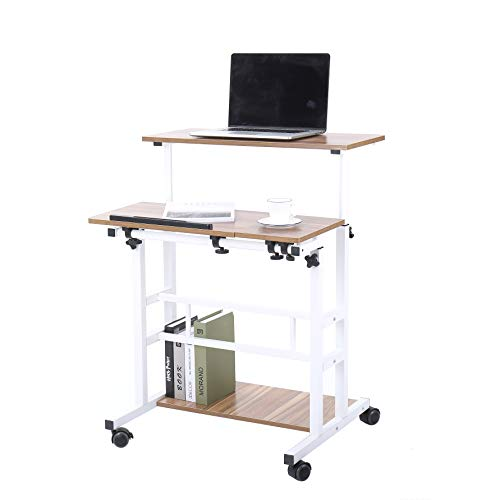 UNICOO- Height Adjustable Sit Stand Workstation, Mobile Standing Desk, Rolling Presentation Cart, Stand Up Computer Desk with Dual Surface for Home Office (U101-Ancient Oak) -