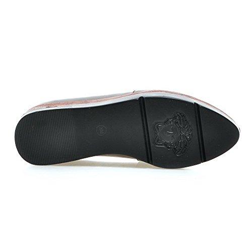 AllhqFashion Damen Rein Weiches Material Hoher Absatz Ziehen auf Pumps Schuhe Grau