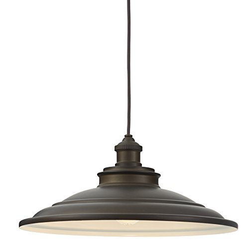 - allen + roth Hainsbrook 15.98-in Aged Bronze Barn Single Dome Pendant
