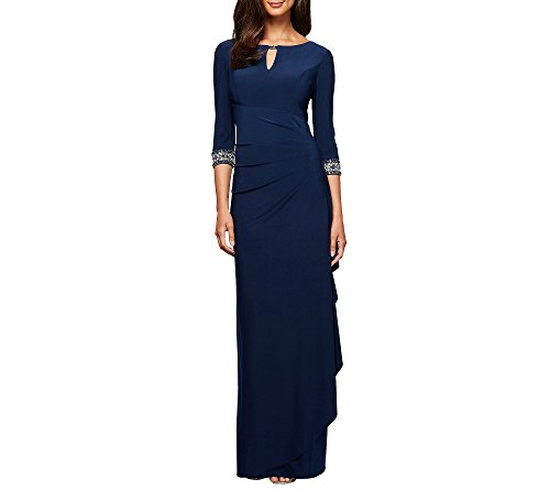 Alex Evenings Women's Dress with Keyhole Cutout (Petite and Regular), Cobalt, 16
