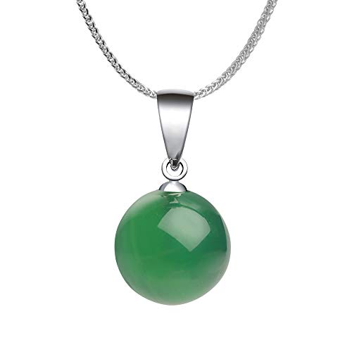 iSTONE 925 Sterling Silver Natural Gemstone Green Agate Ladies Pendant Necklace with 18