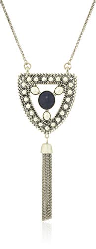 Lucky Brand Women's Lapis and Pearl Pendant Necklace, Silver, One Size