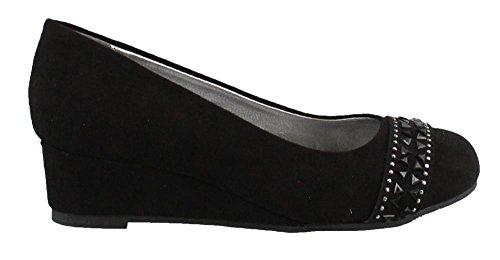 MIA Kids Girl's, Nyla Wedge Pumps Black 3 (Mia Wedge Shoes)