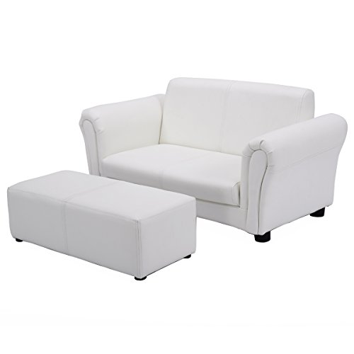 Costzon Kids Sofa Set 2 Seater Armrest Children Couch Lounge w/Footstool (White) by Costzon