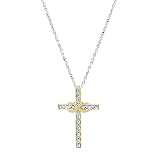 0.10 Carat (ctw) 14K Gold Round White Diamond Ladies Cross Pendant (Silver Chain Included)