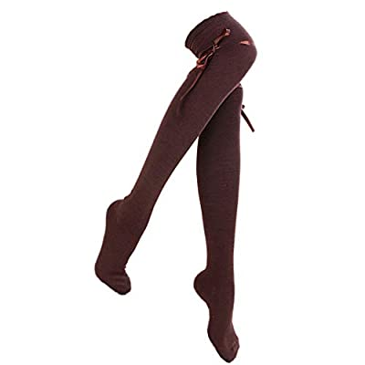 Women's Thigh High Socks Lolita Gothic Over Knee Stocking Lace Up Thigh Stockings PTK12 (Brown): Clothing