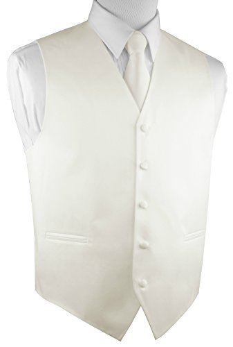 Brand Q Italian Design, Men's Tuxedo Vest, Tie & Hankie Set - Ivory - M by Brand Q