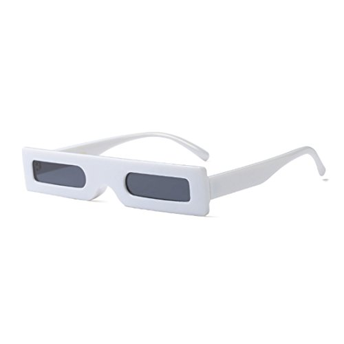 Retro Lens Slender sol Resin Frame Blanco Resin Gris de Retro Small Yefree Gafas Fashion Sunglasses Square wq0SU0O