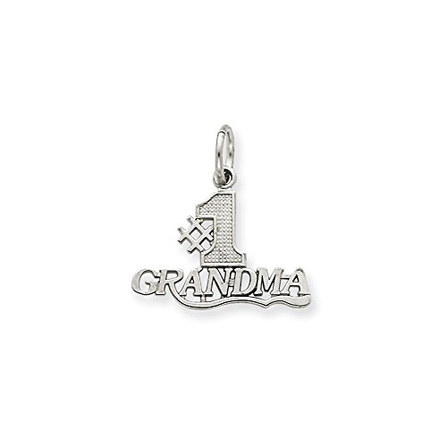 Solid 14k White Gold #1 Grandma Pendant Charm (18mm x 19mm) - 18mm 1 Charm