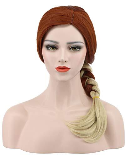 (Karlery Women Long Wave Orange Gradient Blonde Braid Wig Halloween Cosplay Wig Anime Costume Party)