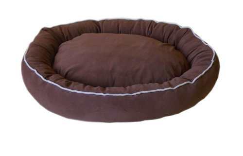 Brown Microfiber Bagel Bed - CPC Microfiber Oval 30 x 24 x 6-Inch Lounge Bagel Chocolate Pet Bed with Linen Piping, Medium