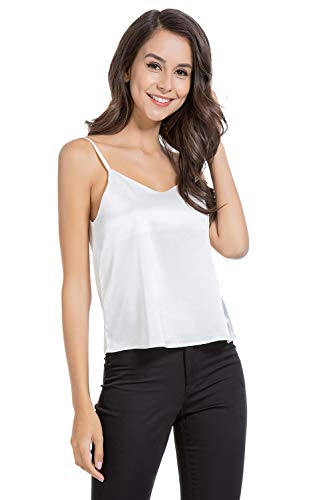(AUQCO Women Satin Camisole Tank Top Silky with Adjustable Strap)