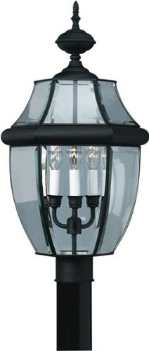 03-04 Traditional 3-Light Exterior Post Lantern with Clear Beveled Glass, Black Finish (3 Light Exterior Post Lantern)