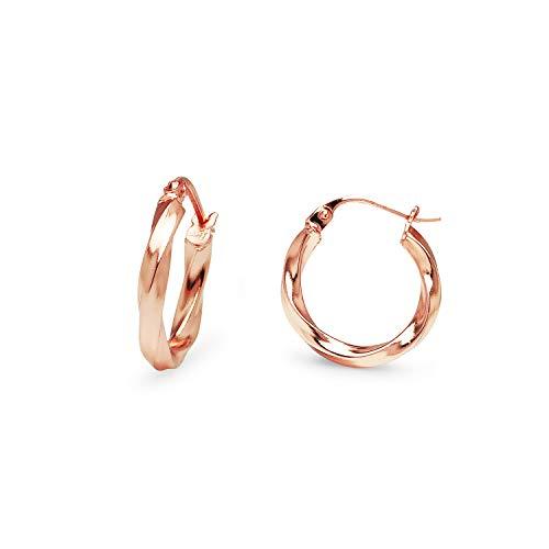 erling Silver Twisted Hoop Earrings Small Size 15mm ()