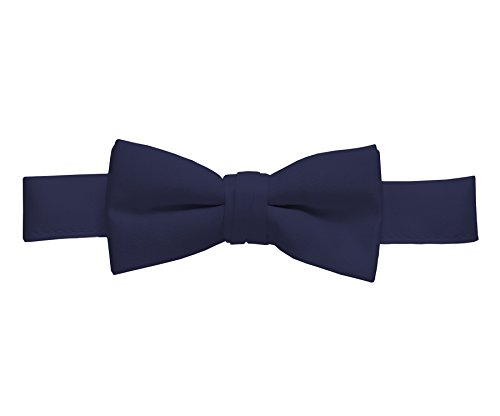 Cricut Colour - Hold'Em Bow Tie For Mens Boys and Baby Satin look Solid Color Adjustable Pre-tied Made in USA - Kids Navy Blue